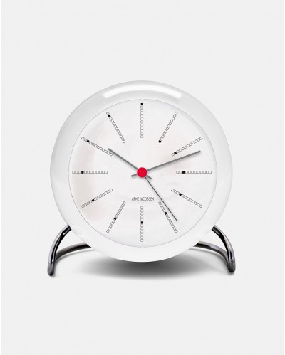 Arne Jacobsen Bankers Clock hvidt bordur design 1971