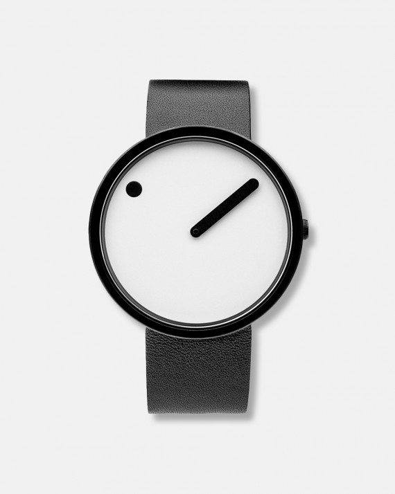Picto watch black leather band dia 40 mm