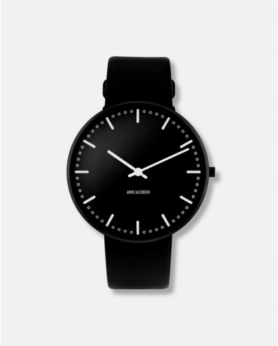 Arne Jacobsen City Hall Wrist Clock black dia 40 - design 1956