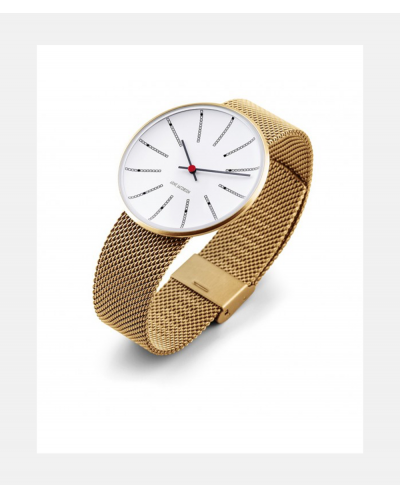 Arne Jacobsen Bankers Clock Gold Mesh Watch