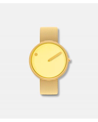Picto armbåndsur ø40 mm gul/mat goldmesh