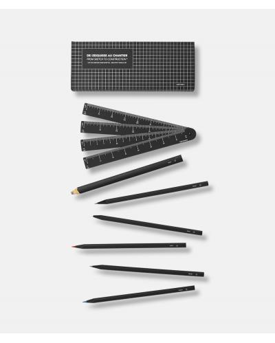 Architects Pencils Box - 6 pencils + cardboard scale ruler