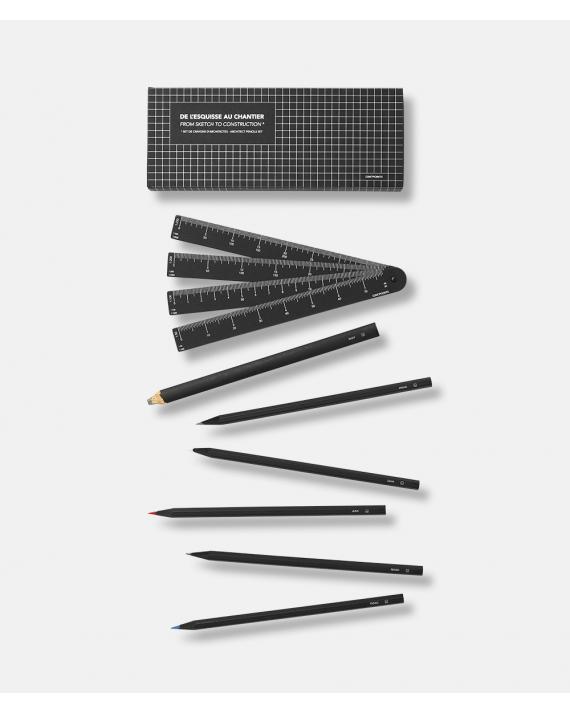 Architect Pencils Box - 6 pencils + cardboard scale ruler